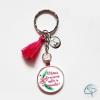 porte-clé merci de m'avoir aidée à grandir cadeau original maîtresse personnalisé pompon rose