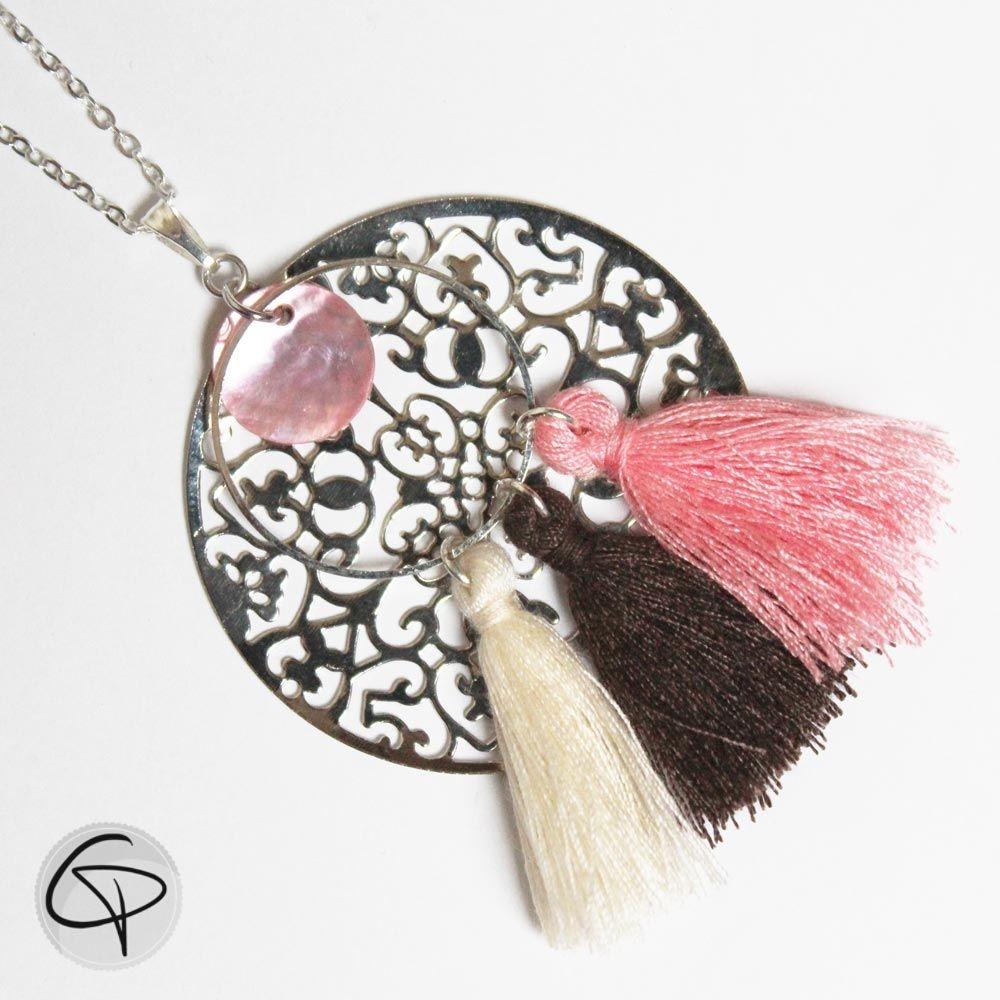 Long sautoir louane estampe filigrane pompons rose