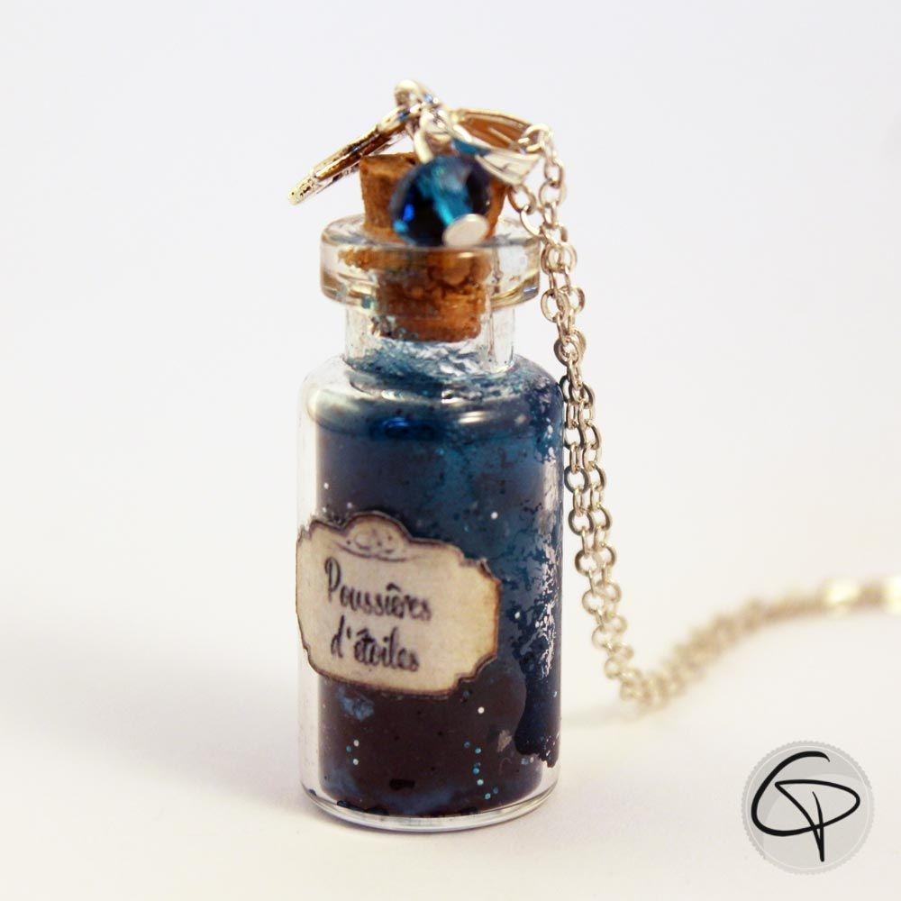Sautoir fiole poussières d'étoiles bijou verre Chat Pristy bleu marine
