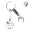 Porte-clef décapsuleur ouvre-canette clé à molette cadeau original à personnaliser