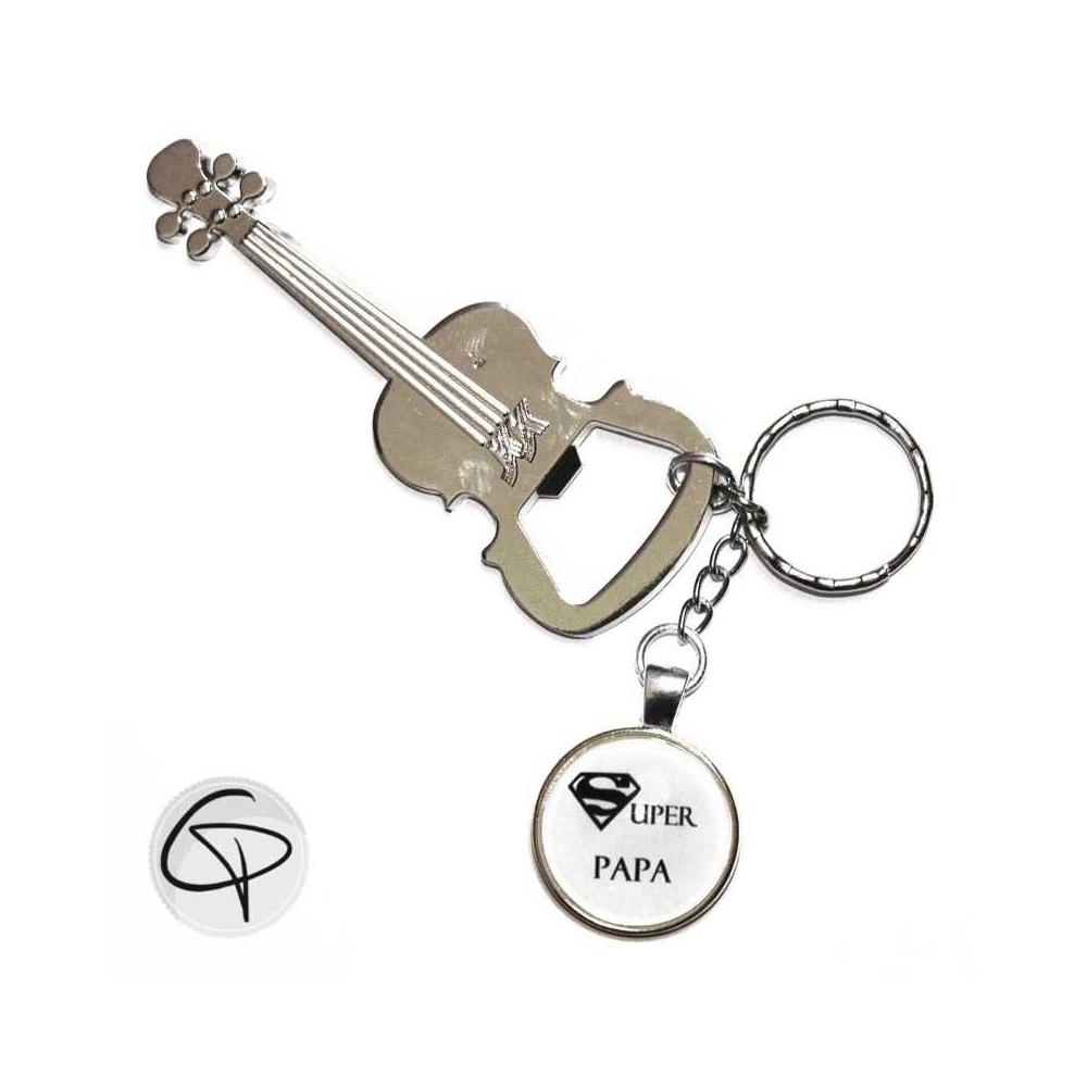 Porte-clé décapsuleur Super papa porte-clef violon cadeau original