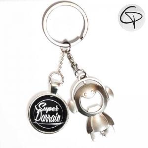 Porte-clef décapsuleur personnalisé, cadeau original parrain