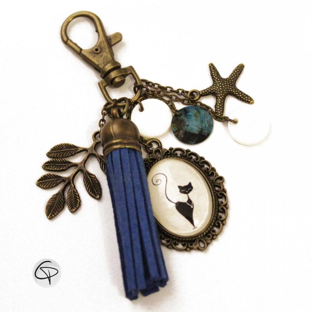 Bijou de sac pompon Chat Noir bijou pour sac à main chat debout pompon bleu roi chat pristy