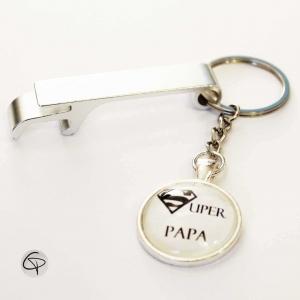 Porte-clé décapsuleur ouvre bouteille porte-clef personnalisé super papa  cadeau original fête des ... 1a790784228