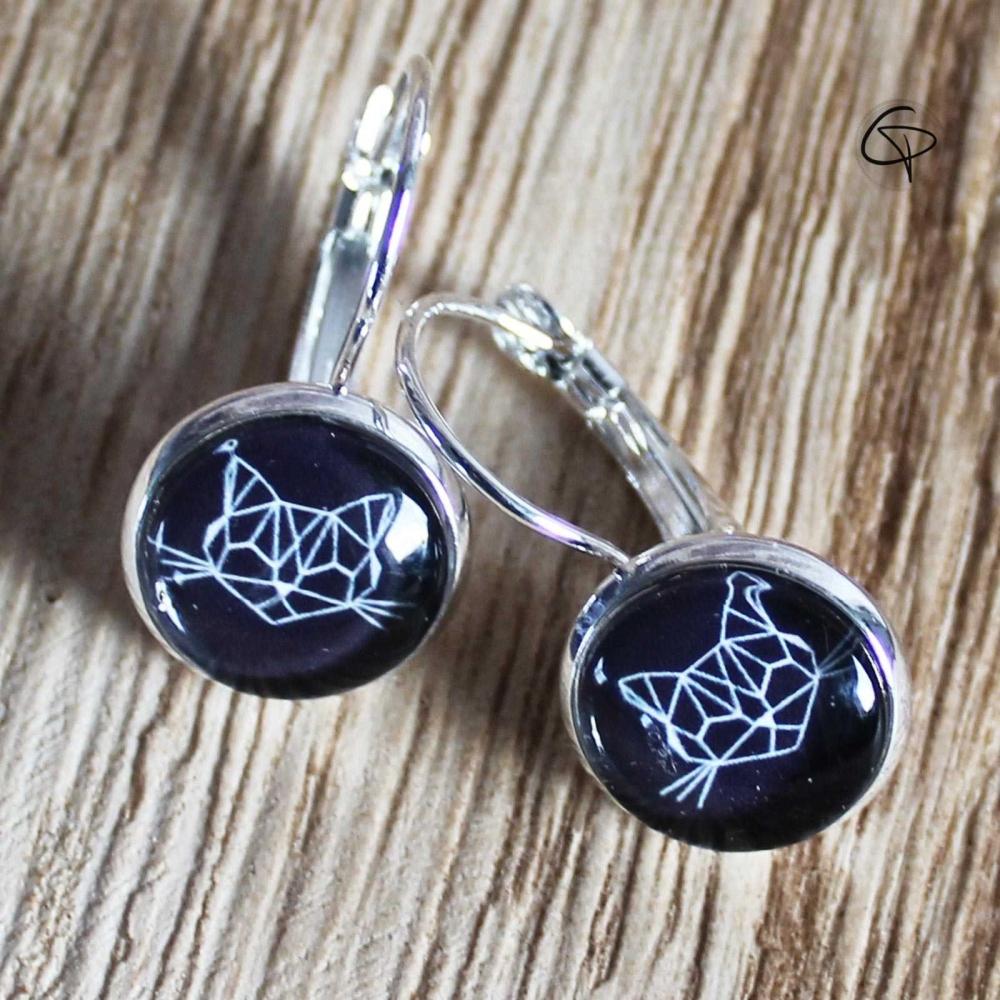 boucles d'oreilles chat géométrique couleur noire bijoux femme