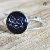 Bracelet pour femme Chat noir ou blanc bracelet argenté dessin chat géométrique Chat Pristy