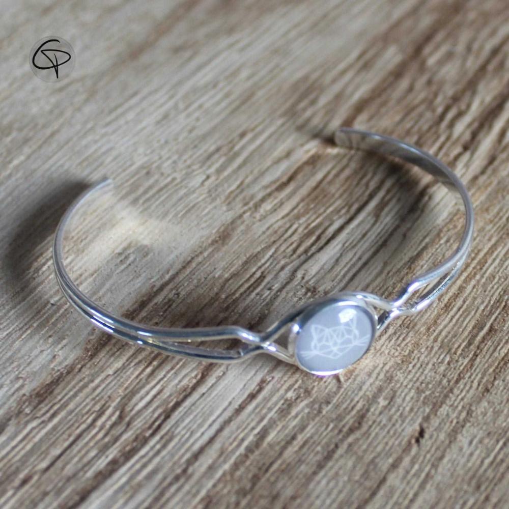 Bracelet pour femme dessin géométrique Tête de Chat bracelet argenté féminin chat pristy
