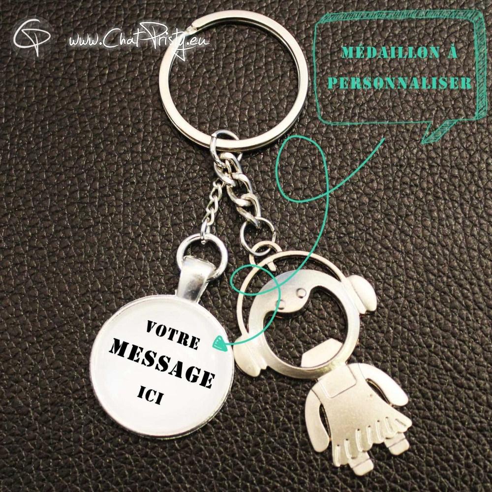 Porte-clé décapsuleur original ouvre-bouteille personnalisé porte-clef original modèle fille message personnalisable
