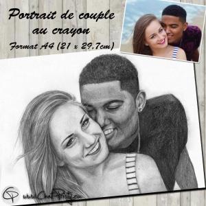 Portrait de deux personnes fait main au crayon en format A4