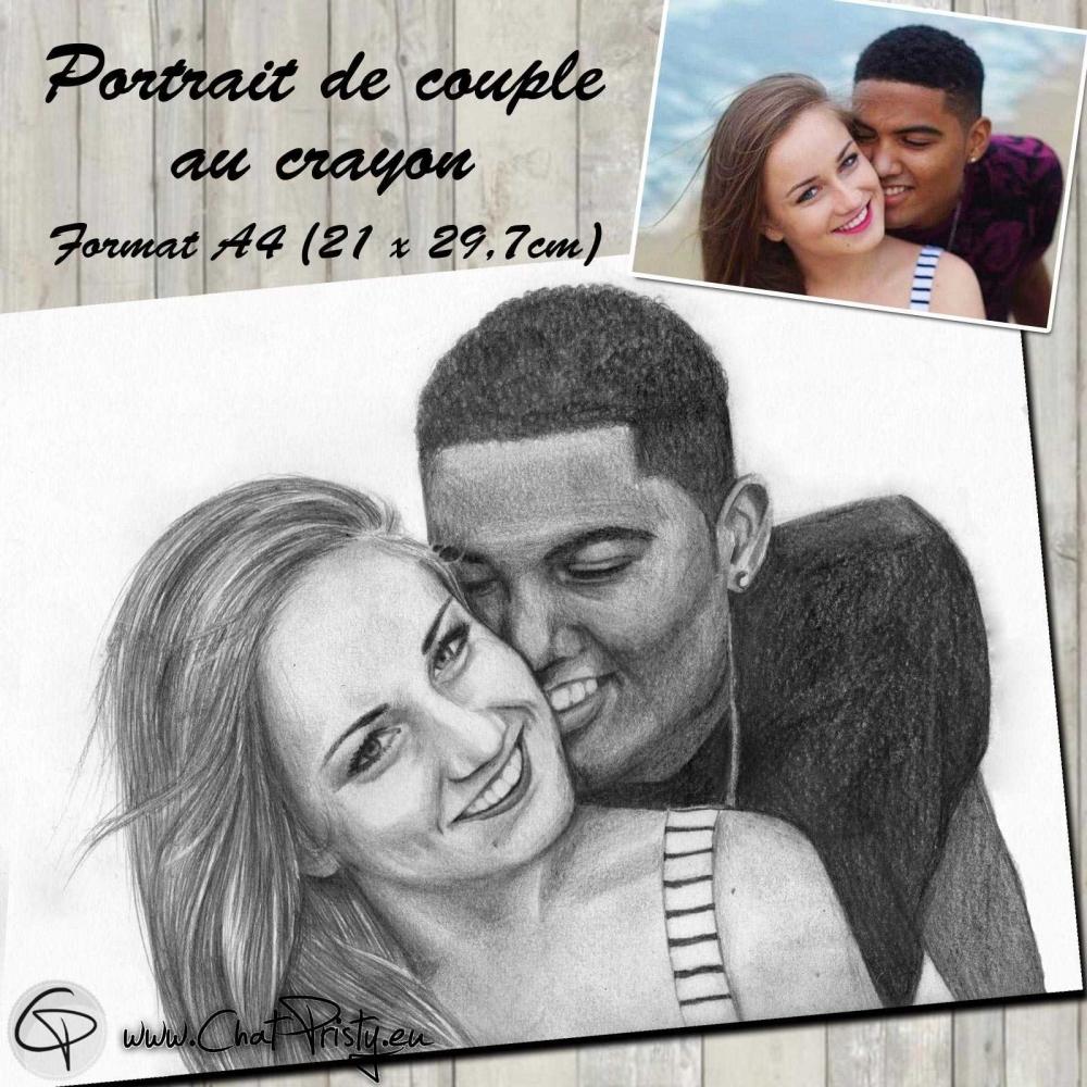 Portrait crayon couple amoureux à partir d'une photographie