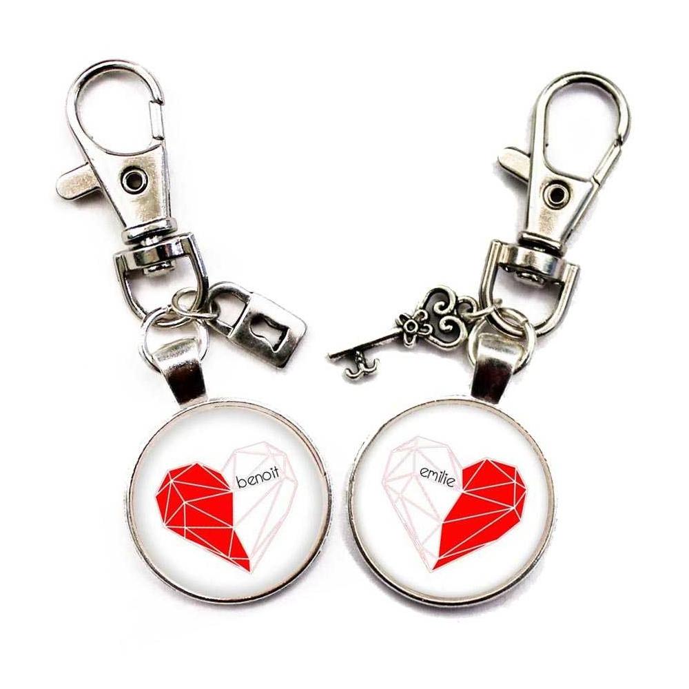 Porte-clé cœur séparable personnalisable un demi-cœur chacun
