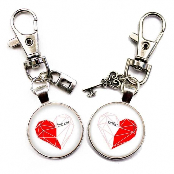 Porte-clé amoureux personnalisable, un cœur pour deux