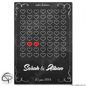 Affiche style ardoise personnalisée prénoms couple amoureux