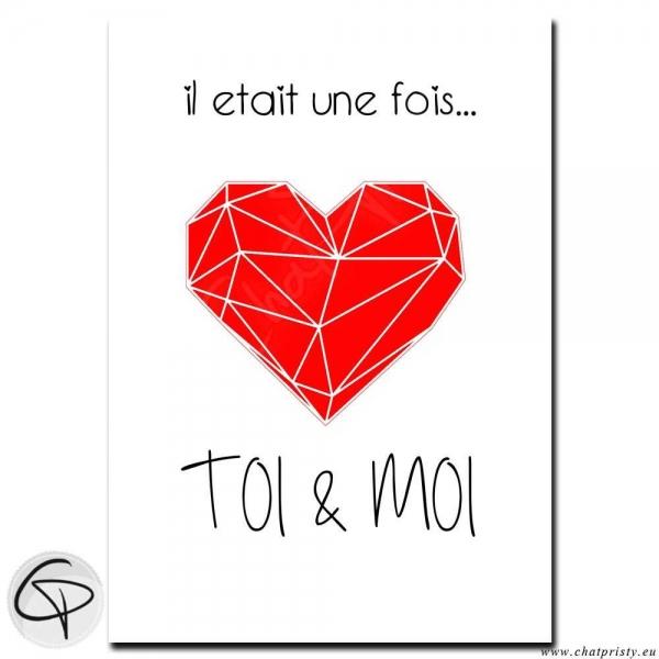 """Affiche Cœur Origami """"Il était une fois toi et moi"""""""