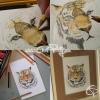 Dessin étape par étape tigre crayons de couleur puis bijou avec médaillon fait main par Chat Pristy