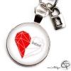 Porte-clé personnalisé un cœur pour deux coeur origami homme