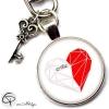Porte-clé personnalisé un cœur pour deux coeur origami femme