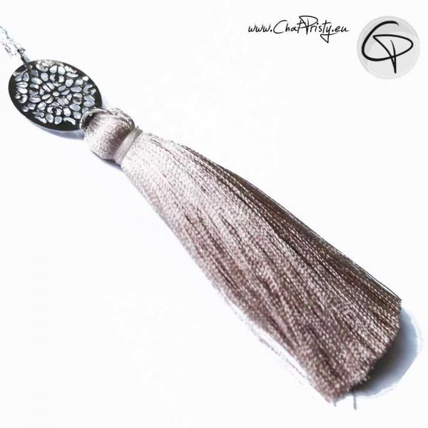 Sautoir Clémence : pendentif pompon coton satiné