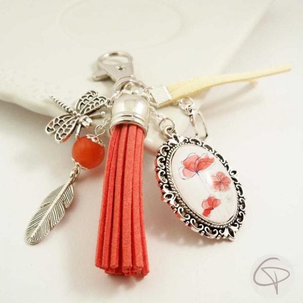 Porte-clé bijou pour sac à main coquelicot, accessoire original et féminin