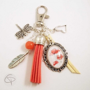 Porte-clé pour sac à main coquelicot breloques plume libellule coeur