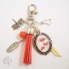 Porte-clé pour sac à main fleurs de coquelicot bijou accessoire
