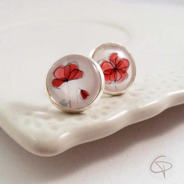 Puces d'oreilles dessin de fleurs de coquelicot
