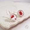 Boucles d'oreilles argentées dessin de coquelicots faits main