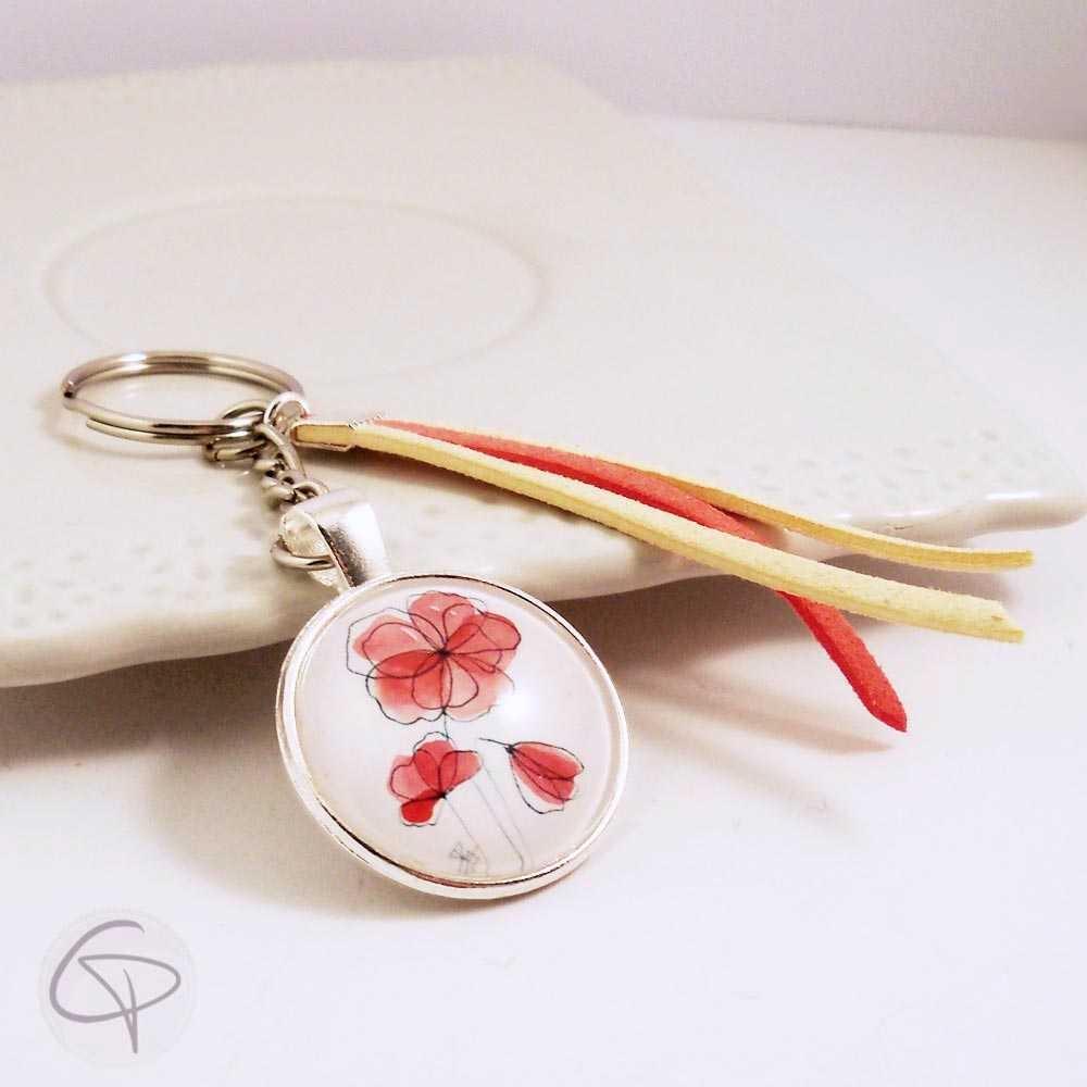 Porte-clef coquelicot en médaillon rubans suédine rouge beige