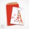 Porte-clé dessin fleur de coquelicot cadeau original