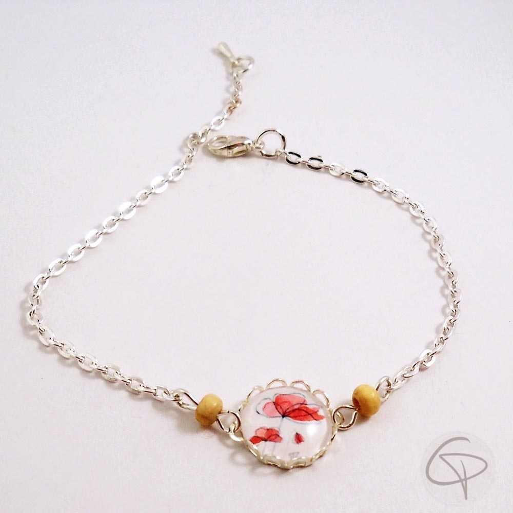 Bracelet pour femme avec pendentif dessin de coquelicots