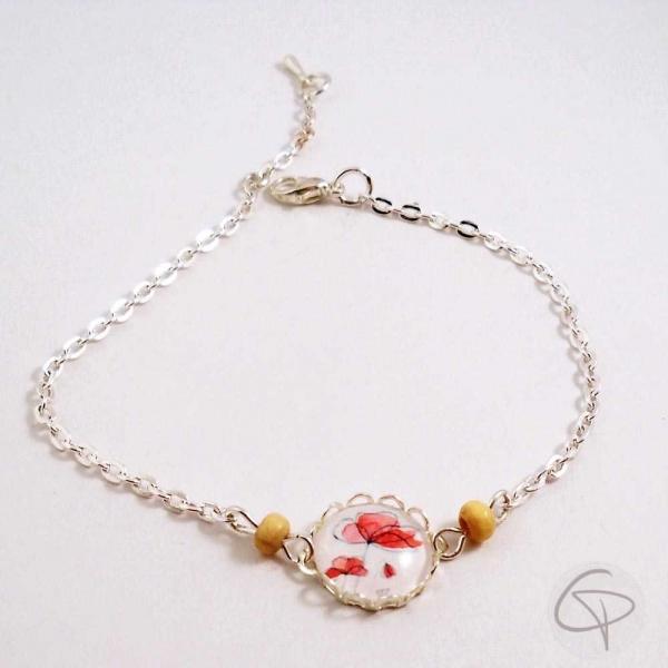 Bracelet avec pendentif dessin de coquelicots