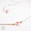 Bracelet bijou pour femme avec médaillon fleurs de coquelicot