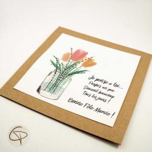 Carte de vœux grand-mère bouquet de fleurs à l'aquarelle