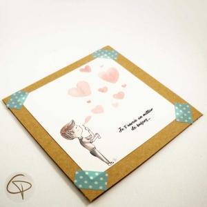 Carte de vœux mamie personnalisable petit garçon peint main