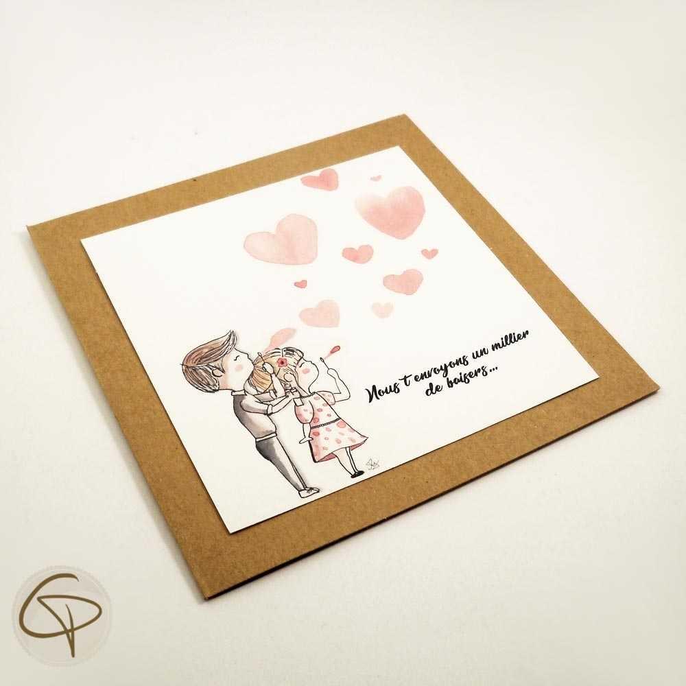 Carte de vœux mamie personnalisable petits enfants peints main