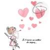 Carte de vœux mamie originale personnalisable Petite fille peinte main