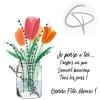 Carte de vœux grand-mère bouquet de fleurs à l'aquarelle fait main