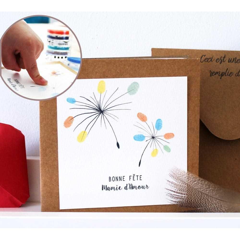 Carte de vœux fleur à compléter empreinte cadeau original pour mamie