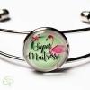 bracelet argenté flamant rose cadeau original super maîtresse fin année scolaire
