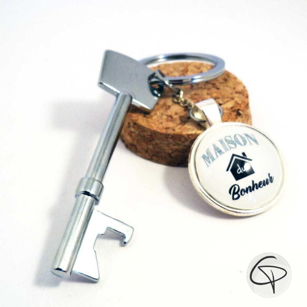 porte-clé maison du bonheur décapsuleur en forme de clef