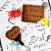 Paire d'aimants biscuits faits main cadeau original personnalisé maîtresse école