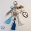 Porte-clef cadeau maîtresse école attrape-rêve cadeau été pompons bleu ciel