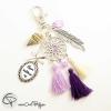 Porte-clef pour sac attrappe rêve cadeau personnalisé maîtresse pompons violet rose