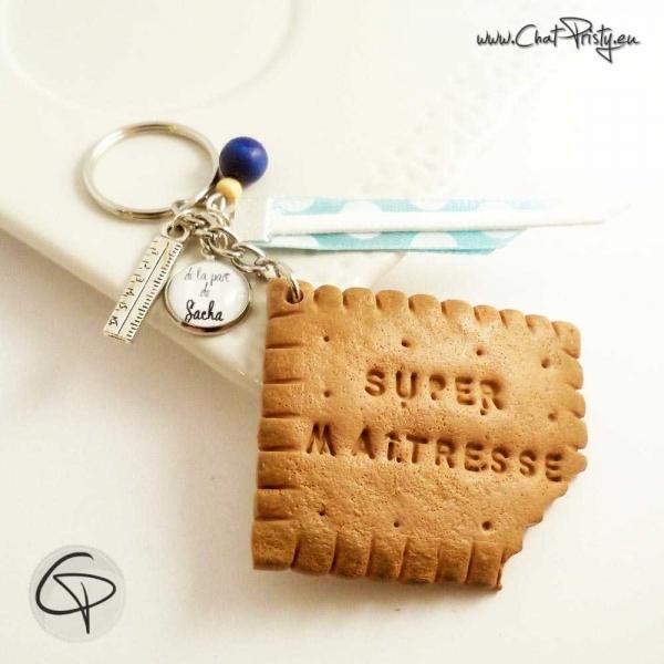 Porte-clef biscuit croqué Super Maîtresse à personnaliser