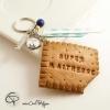 1-Porte-clé original maîtresse école biscuit croqué personnalisable de la part de pour cadeau instiutrice