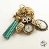Porte-clé bronze pompon bleu vert montre à gousset chouette personnalisation