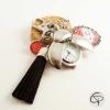 Porte-clé argenté pompon noir montre gousset coccinelle message personnalisé