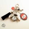porte-clé pompon noir montre gousset coccinelle personnalisable