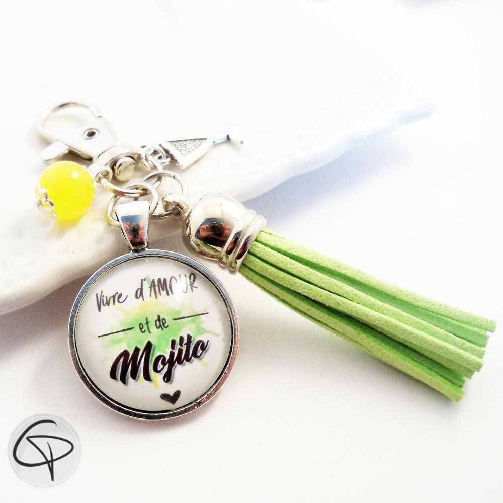 Porte-clé Mojito cadeau original fan de cocktail cubain pompon vert menthe