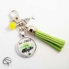 Porte-clé original amatrice de mojito pompon vert perle jaune message vivre d'amour et de mojito